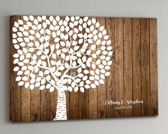 175 Guest CANVAS Wedding Guest Book Wood Wedding Tree Wedding Guestbook Canvas Alternative Guestbook Canvas Wedding Guestbook - Wood design