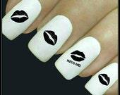 Lips Nail Decal 20 Water Slide Decal Fingernail Decals Nail Tattoo Transfers Nail Art