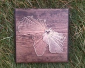 "Custom String Art featuring Africa and Wisconsin,  customizable to the countries or states of your choice!  11"" × 11""  Threadbare Arts"