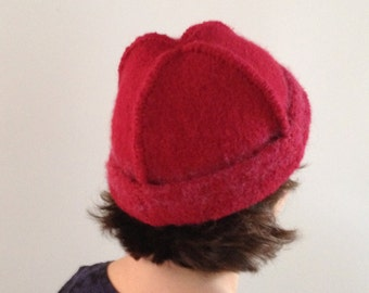 Red Cap made of knitted and felted wool