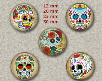 Sugar Skull Jewelry Dia de los Muertos 1 Inch Circle Digital Collage Bottle Cap Jewelry Images Necklace, Magnets, Stickers
