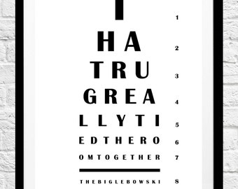 The Big Lebowski 'That Rug Really Tied The Room Together' Movie Quote- Eye Chart Minimalist Poster, Typography Print- Home Decor, Wall Art
