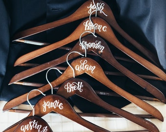 Personalized Calligraphy Bridesmaid or Groomsmen Hanger