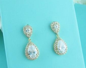Gold Bridal Earrings, gold cz earrings, cubic zirconia earrings,cubic zirconia earrings,bridal jewelry, wedding earrings, bridal earrings