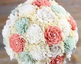 Wedding Bouquet, David's Bridal Coral, Dusty Mint Sola Flower Bouquet, Alternative Bridal Bouquet, Rustic Bouquet, Keepsake Bouquet