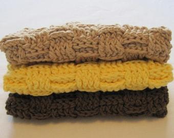 Crochet Washcloths Brown Yellow Beige Cotton