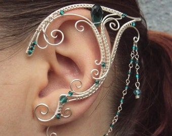 Pair of elven ear cuffs Emerald Love