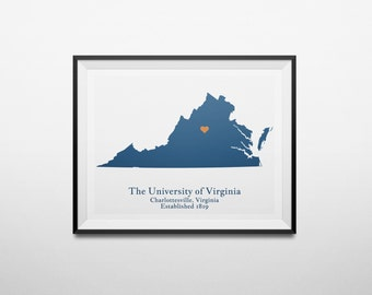 The University of Virginia, Charlottesville, Virginia Map Print