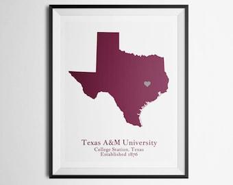 Texas A&M University, TAMU, College Station Map Print