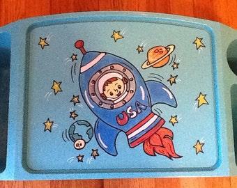 astronaut activity tray, astronaut game tray, astronaut tv tray, boys tv tray, boys activity tray,  Astronaut space ship activity tray