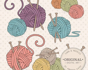 Premium Knitting Clipart & Vectors - Knitting Clip Art, Knitting Vectors, Yarn Clipart, Knitting Needles Clipart, Yarn Ball Clipart
