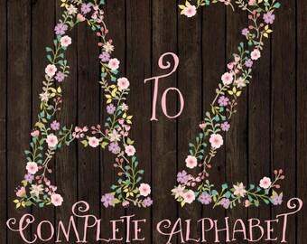 Professional Floral Alphabet Clipart & Vectors - Floral Monogram Clip Art, Floral Alphabet Clip Art, Floral Letters, Wedding Clipart