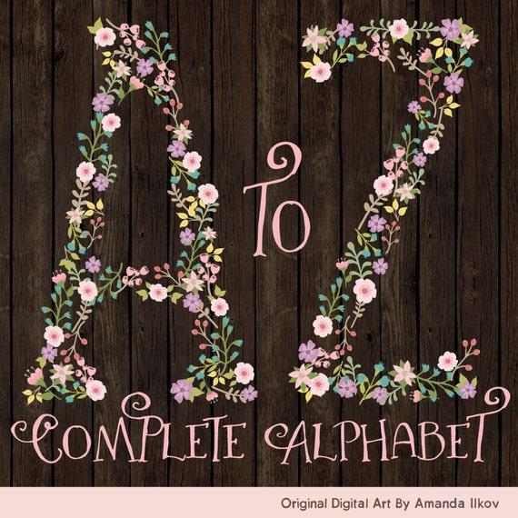 Professional Floral Alphabet Clipart & Vectors Floral