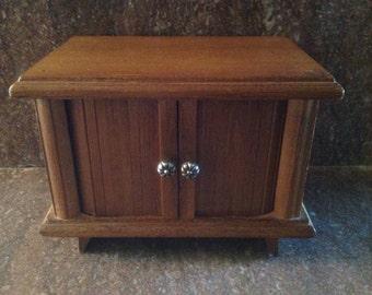 Vintage wood  drink coaster set with holder, MCM drink coasters in cabinet