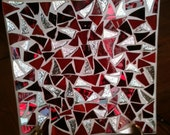 Red glass mosaic dish
