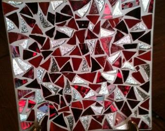 Red glass mosaic dish