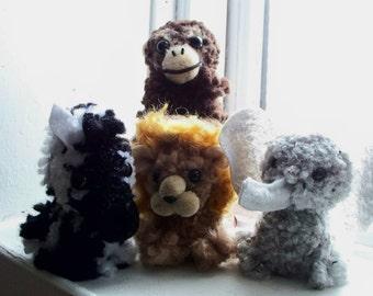 African Pom-Pom Animals - Zebra, Lion, Elephant and Chimpanzee