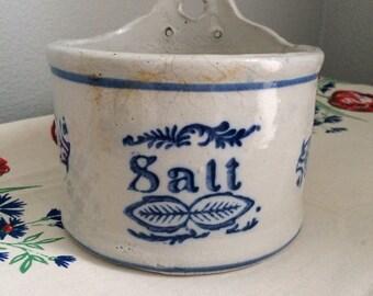 Vintage Wall Hanging Salt Crock Salt Box Salt Cellar