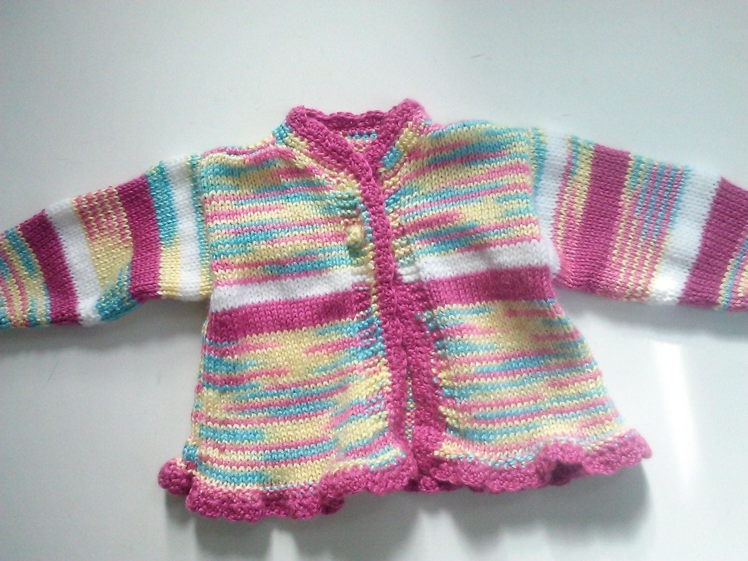 Knitting Baby Sweater Measurements : Vintage spring knit baby sweater size t handmade