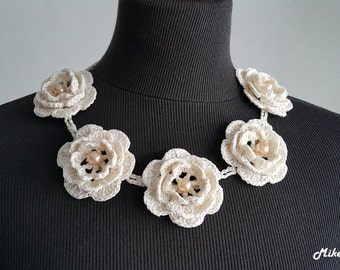 Crochet Necklace,Crochet Neck Accessory, Flower Girl Necklace,Light Ivory, 100% Cotton.