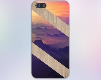 Mountain Sunset x Diagonal Striped Wood Design Case for iPhone 6 6 Plus iPhone 7  Samsung Galaxy  & s7 and Note 5  S8 Plus Phone Case