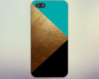 Gold Leather Black Turquoise Case,  iPhone 7, iPhone 7 Plus, Protective iPhone Case, Galaxy s8, Samsung Galaxy Case Note 5, CASE ESCAPE
