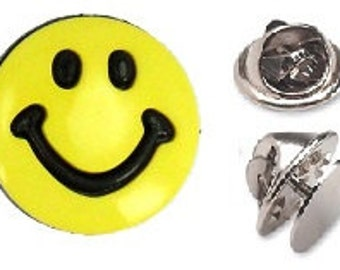 Yellow Smiley Lapel Pin ~  Tie Tack or Lapel Pin