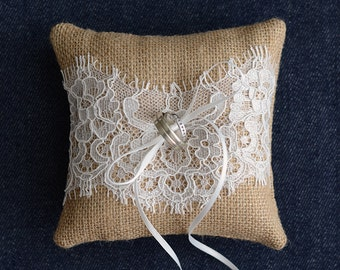 Wedding Ring Pillow, Ring Bearer Pillow, ring cushion for rustic wedding, burlap ring pillow with lace