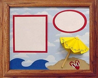 Celebrate Summer All Year Long with Scrapbook Wall Art. Blue waves, a Yellow Umbrella, Red FlipFlops and your Photos from Crafts by the Sea.
