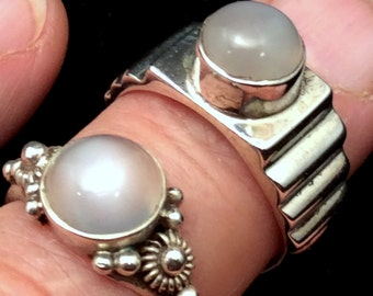 Size 8 or 8.5 Sterling Silver Ring. Moonstone  free US ship