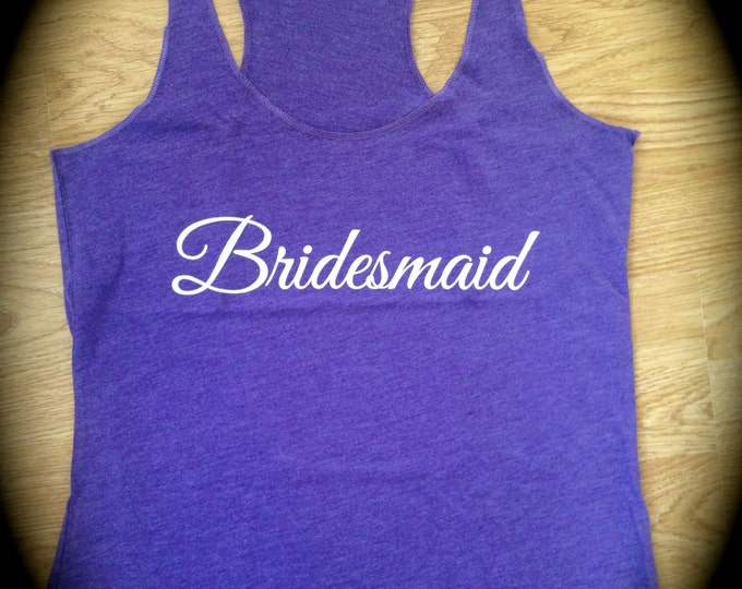 Bridesmaid Tank Tops. Wedding Party Shirt. Flowy loose racerback bridesmaid Tank top. Purple, Aqua, grey, black,