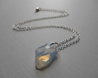 White Opal Necklace - Swarovski White Opal Galactic Vertical Sterling Silver Necklace