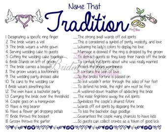 Name that Tradition/ Why Do We Do That Bridal Shower Game NAVY -Fun, Detailed, & Cute!