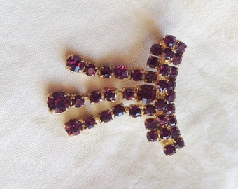 Vintage Purple Rhinestone Dangle Brooch