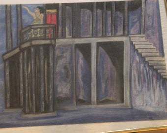 "Sale! Lovely Margot Fonteyn in Russian Ballet ""Romeo & Juliet"" Balcony Scene Original Pastel"