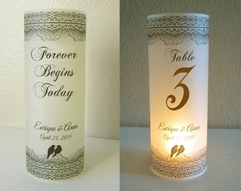 20 Personalized Wedding Love Birds Centerpiece Luminaries Table Number Decoration