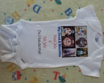 Month By Month Personalized picture onesie