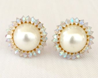Vintage Marvella Faux Mabe Pearl & Aurora Borealis  Earrings - Gift, Bride, Wedding, Mother of the Bride, Bridesmaids