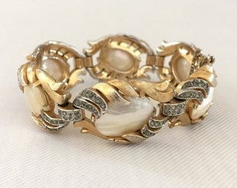 Philippe Crown Trifari Bracelet_ Vintage Fantasia Bracelet Mother of Pearl & Rhinestone: Wedding, Bride, Bridal Jewelry, Designer Signed MOP