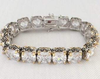 Vintage Rhinestone Bracelet- Cushion Cut Crystal - Wedding, Bride, Bridal Jewelry, Maid of Honor, Mother of the Bride -Tennis Bracelet