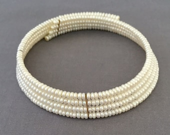 Multi Stand Pearl Expandable Choker - Wedding, Bridal, Mother of the Bride, Bridesmaid, Engagement, Formal 4 Strand