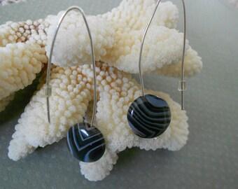 Sterling Silver Agate open Hoop Earrings