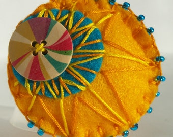 Felt Button Brooch-Yellow And Blue-Button Brooch-Perfect For Brightening Your Wardrobe