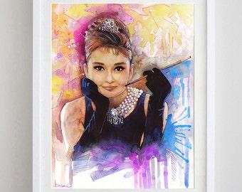 Audrey Hepburn , watercolor painting  Audrey Hepburn print, Audrey Hepburn watercolor print, Audrey Hepburn art