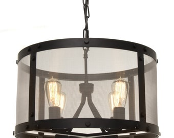 Industrial Steel Drum Pendant Light
