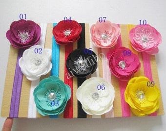Flower Headband. Rhinestone Headband.  Elastic Headband,Baby Headband. Baby Shower Gift.