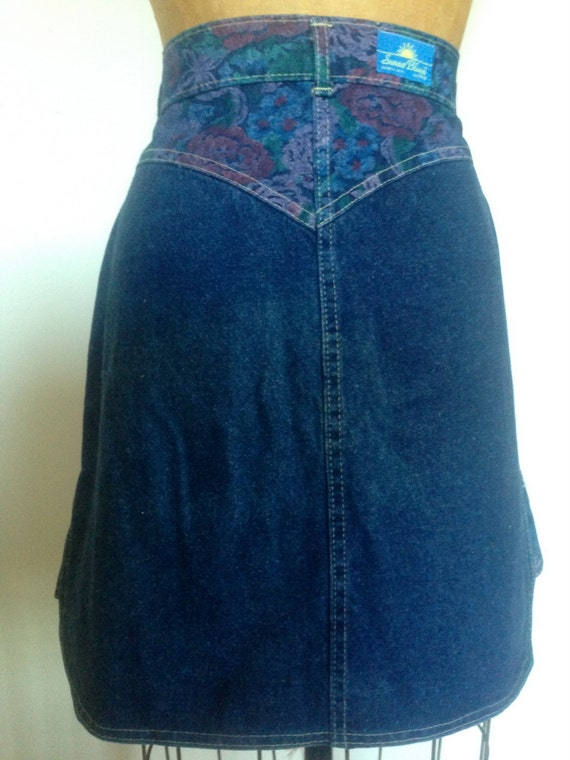 sunset blues skirt printed denim accents by