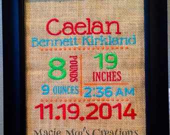 Baby Birth Announcement, Embroidery, wood frame, Burlap, Baby Shower Gift, Wall Art, Baby Gift