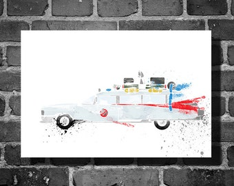 Ghostbusters vehicle movie poster minimalist poster Ecto One art wall art home decor