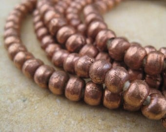 Round Copper Beads From the Villages of Ethiopia! African Metal Beads - Copper Spacers - Wholesale African Beads - Copper Beads 240